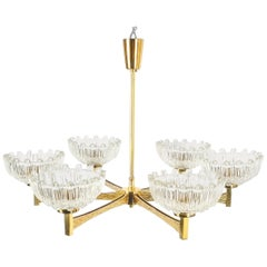 Hans-Agne Jakobsson Attributed Six-Arm Chandelier from Brass Glass, 1960