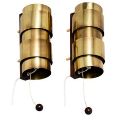 Hans-Agne Jakobsson Brass and Rosewood Wall Lamps