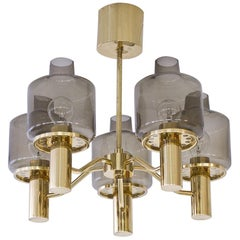 Hans-Agne Jakobsson Brass and Smoked Glass Chandelier, 1960s
