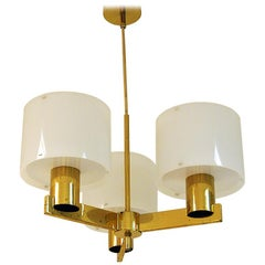 Hans Agne Jakobsson Brasslamp with Five Acrylic Shades, 1960s, Sweden