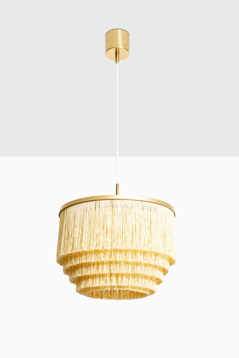 Swedish Hans-Agne Jakobsson Ceiling Lamp Model T-602 in Brass and Silk Fringes For Sale
