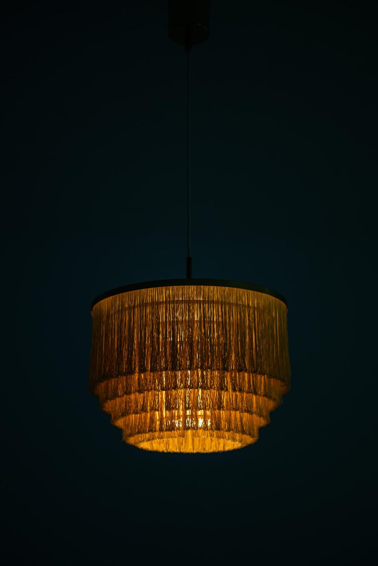 Hans-Agne Jakobsson Ceiling Lamp Model T-602 in Brass and Silk Fringes In Good Condition For Sale In Malmo, SE