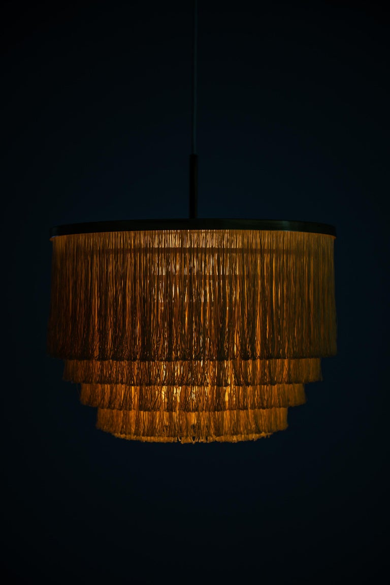 Hans-Agne Jakobsson Ceiling Lamp Model T-602 in Brass and Silk Fringes For Sale 3