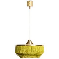 Hans-Agne Jakobsson Ceiling Lamp Model T-603 in Brass and Silk Fringes