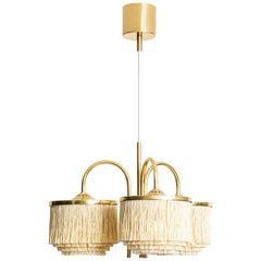 Hans-Agne Jakobsson Ceiling Lamp Model T-608 in Brass and Silk Fringes