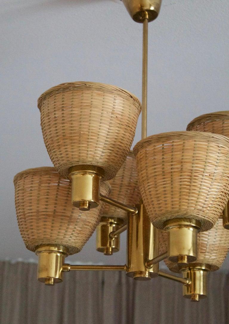 Mid-Century Modern Hans-Agne Jakobsson Attribute, Chandelier Light, Brass, Rattan, Sweden, c. 1960s For Sale