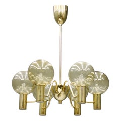 Hans-Agne Jakobsson Chandelier Patricia T 372/6 Brass and Glass, Sweden, 1960s
