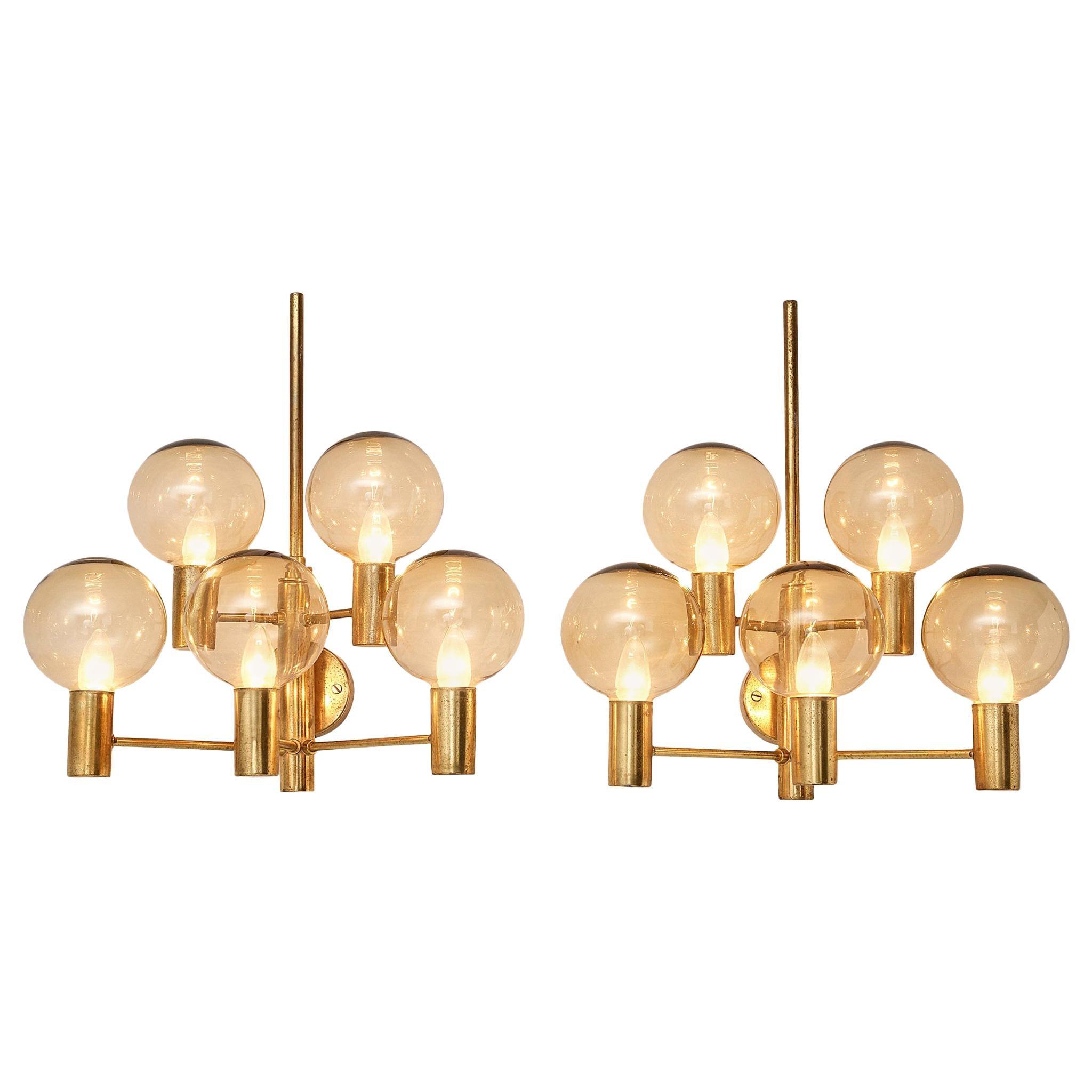 Hans Agne Jakobsson Five Armed Brass Wall Lights