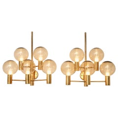 Hans Agne Jakobsson Five Armed Brass Wall Lights