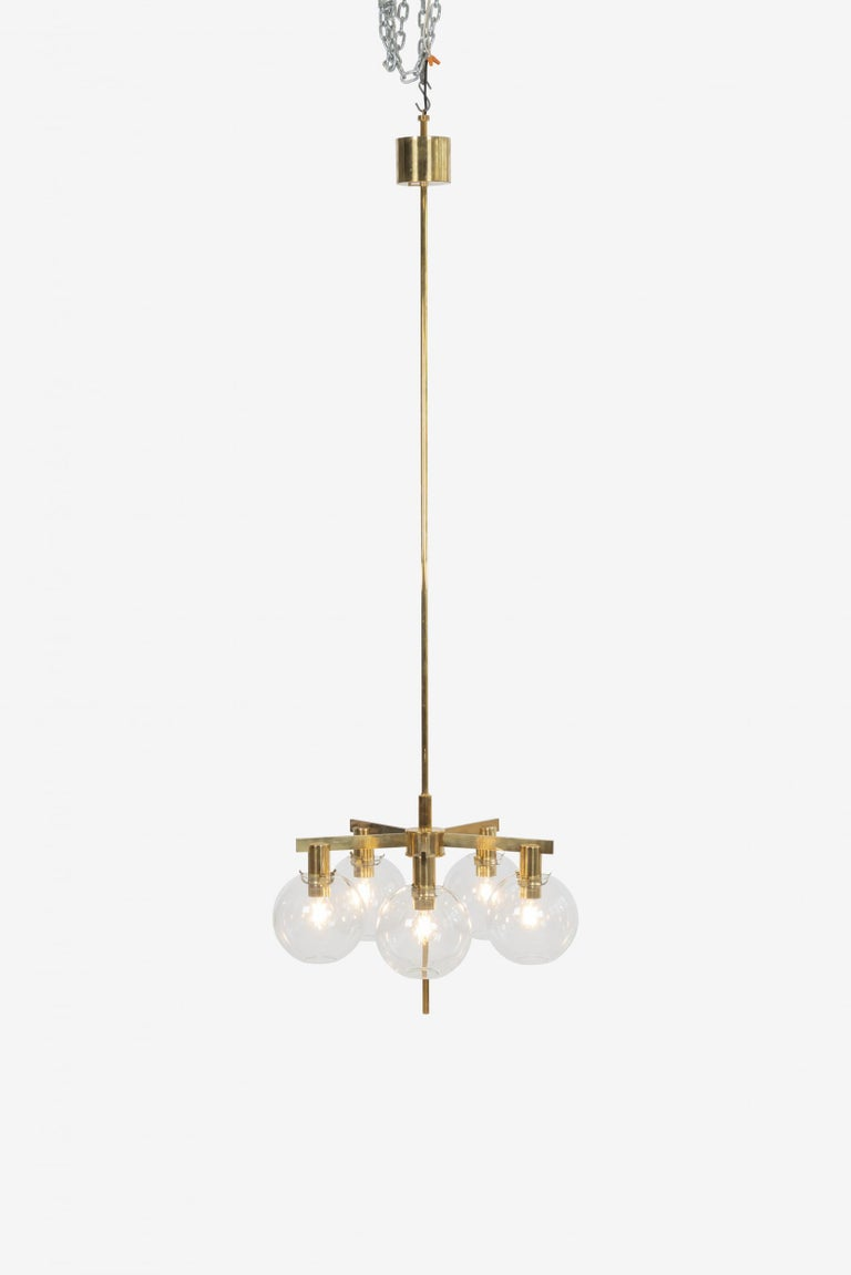 Hans-Agne Jakobsson five globe pastoral chandelier, model T 384/5  Brass and glass by Hans-Agne Jakobsson AB Sweden, 1965 (Lamp stem can be shortened at desired length for no extra charge).
