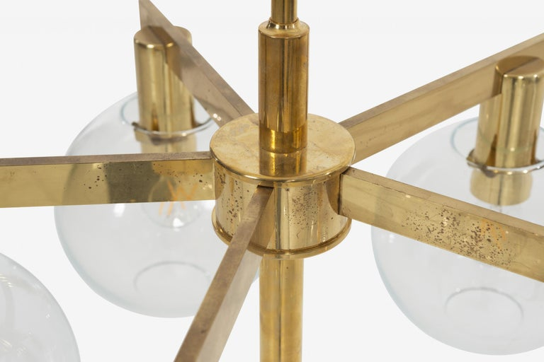 Hans-Agne Jakobsson Five Globe Pastoral Chandelier In Good Condition For Sale In Chicago, IL