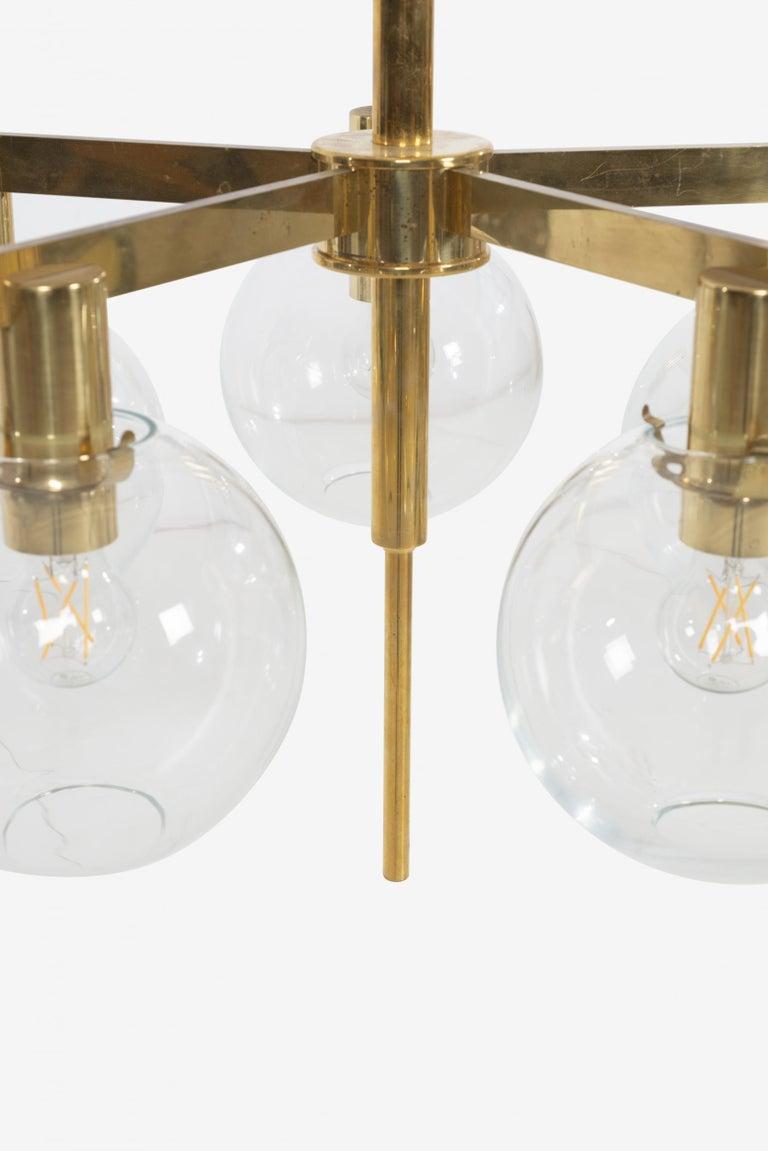 Brass Hans-Agne Jakobsson Five Globe Pastoral Chandelier For Sale