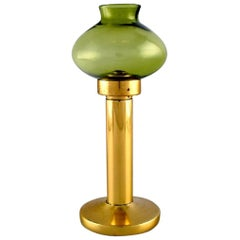Hans-Agne Jakobsson for A / B Markaryd, Oil Lamps in Brass and Green Art Glass