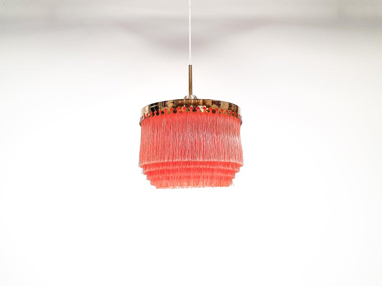 Brass Hans-Agne Jakobsson for Markaryd Model T601/M Pendant in Pink, 1960s For Sale
