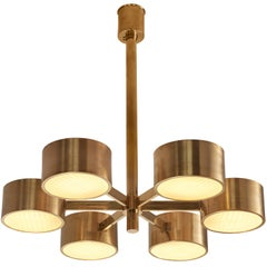 Hans-Agne Jakobsson for Markaryd Round Chandelier in Brass