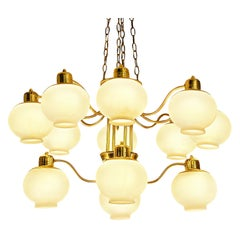 Hans-Agne Jakobsson Large Chandelier in Brass and Glass