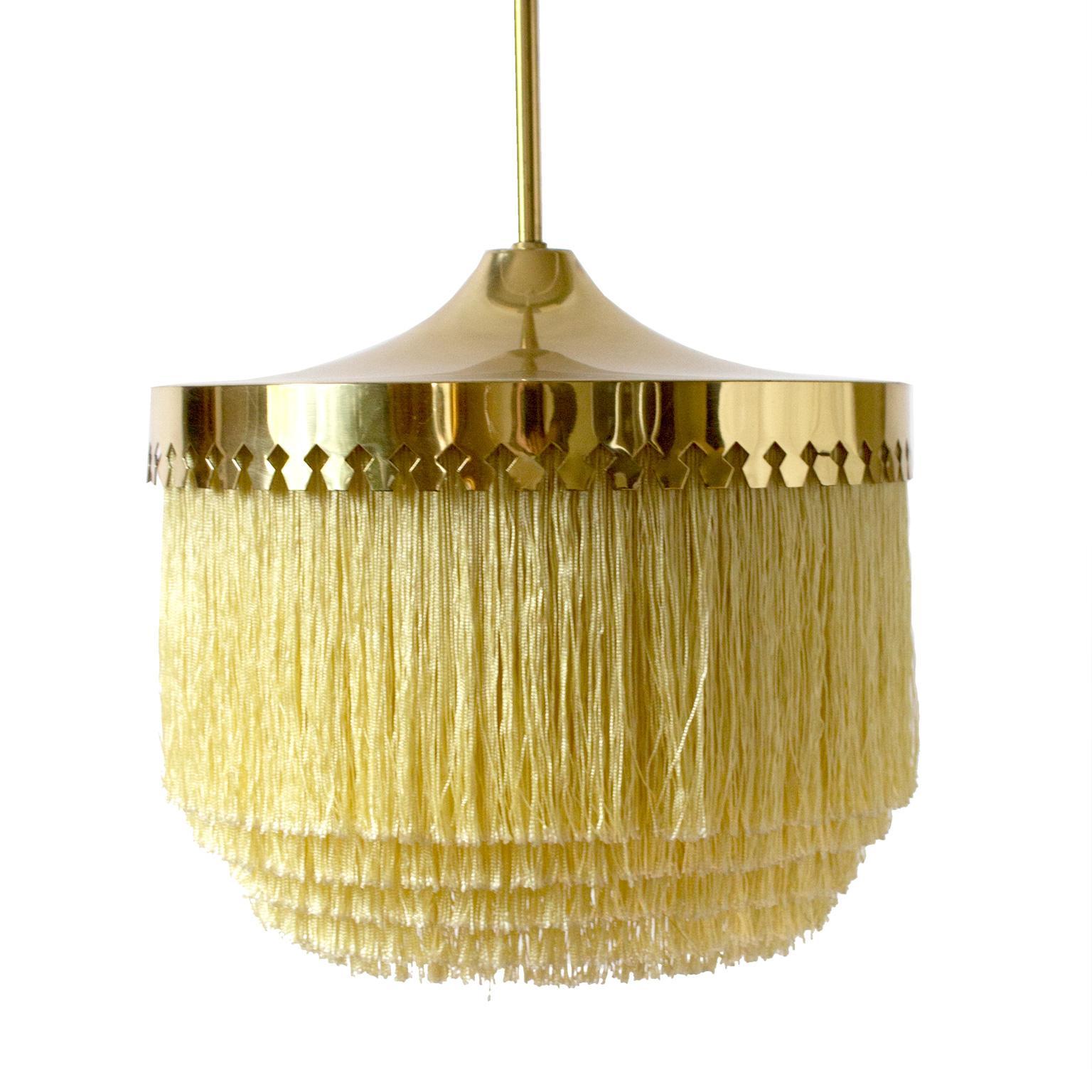 Hans-Agne Jakobsson Light Yellow Modern Silk Fringe Series Pendant, 1960s