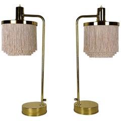 Hans Agne Jakobsson Model B140 Pair of Silk Fringe Brass Table Lamps