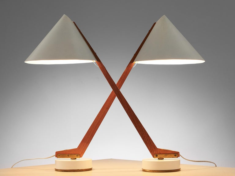 Hans Agne Jakobsson for Markaryd, set of 2 table lamps 'model B54', aluminum, brass and teak, Sweden, circa 1955.