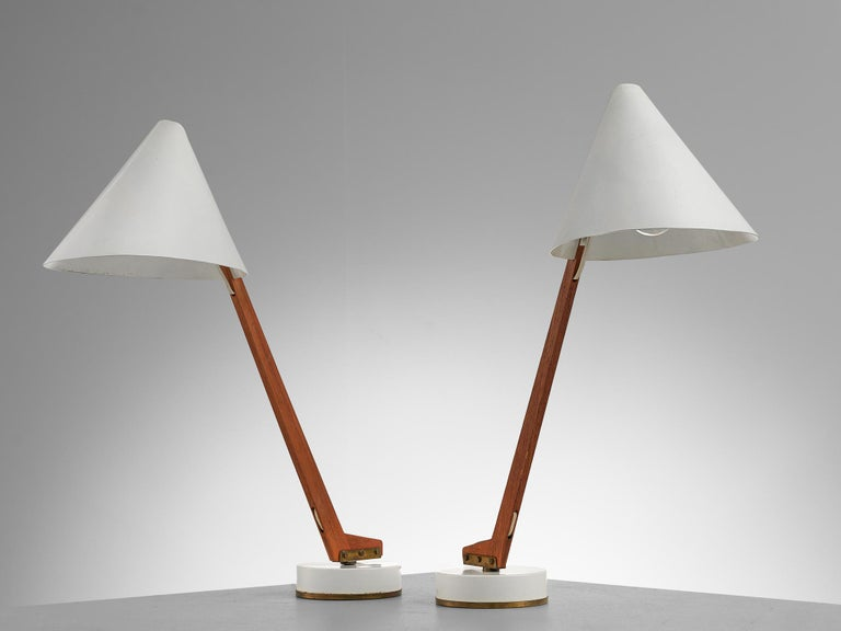 Hans Agne Jakobsson Pair of 'B54' Table Lamps, circa 1955 In Good Condition For Sale In Waalwijk, NL
