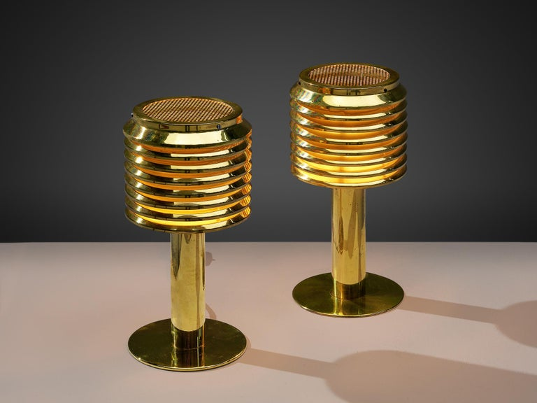 Mid-Century Modern Hans-Agne Jakobsson Pair of Brass Table Lamps Model 'B-142' For Sale