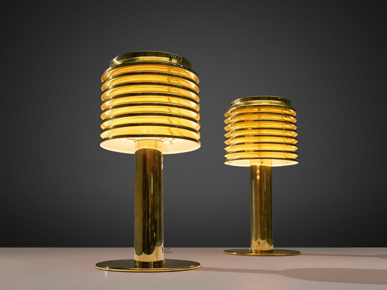 Hans-Agne Jakobsson Pair of Brass Table Lamps Model 'B-142' In Good Condition For Sale In Waalwijk, NL