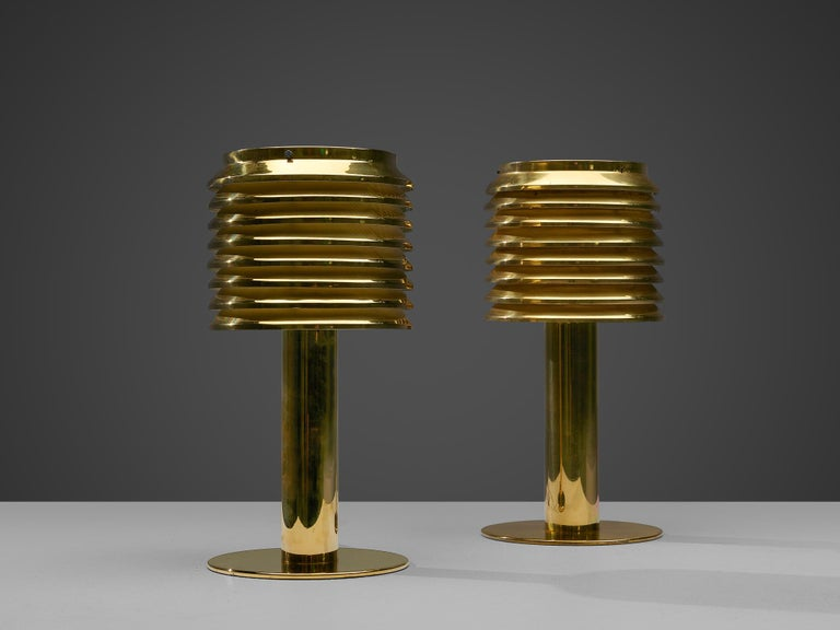 Hans-Agne Jakobsson Pair of Brass Table Lamps Model 'B-142' For Sale 1