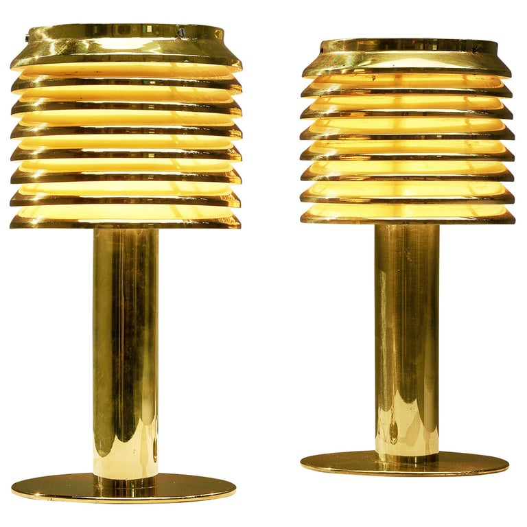 Hans-Agne Jakobsson Pair of Brass Table Lamps Model 'B-142' For Sale