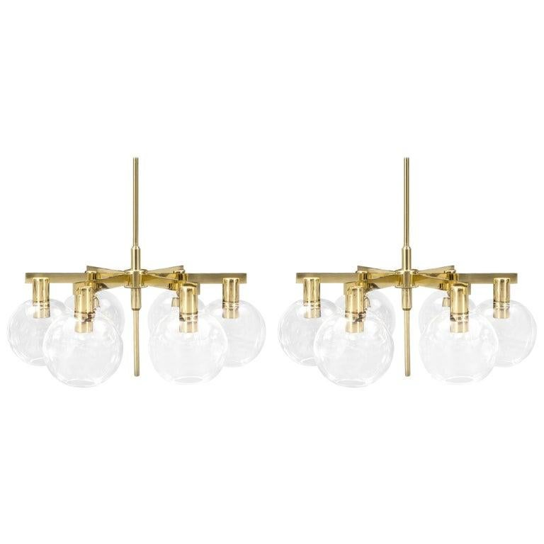 Blown Glass Hans-Agne Jakobsson Pair of Swedish mid-century Brass blown glass Chandeliers  For Sale