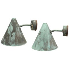 Hans Agne Jakobsson Pair of Cone Shaped Wall Lights in Copper