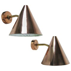 Hans-Agne Jakobsson Pair of Cone Shaped Wall Lights in Polished Copper and Brass