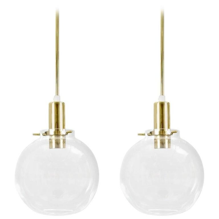 20th Century Hans-Agne Jakobsson Pair of Mid-century Pendant Hanging Lamps round glass brass For Sale