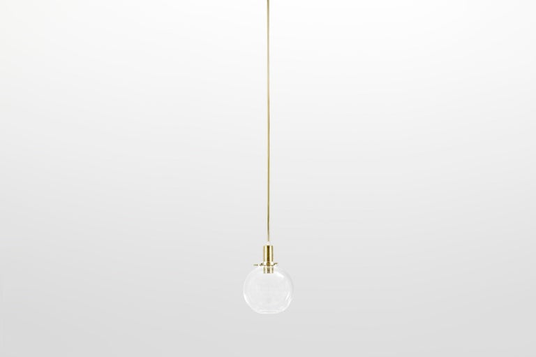 Swedish Hans-Agne Jakobsson Pair of Mid-century Pendant Hanging Lamps round glass brass For Sale