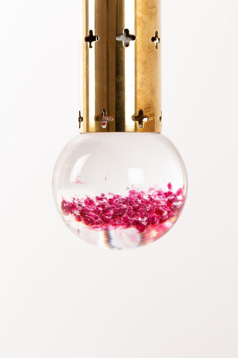 Scandinavian Modern Hans Agne Jakobsson Pendant Brass with Glass Drop For Sale