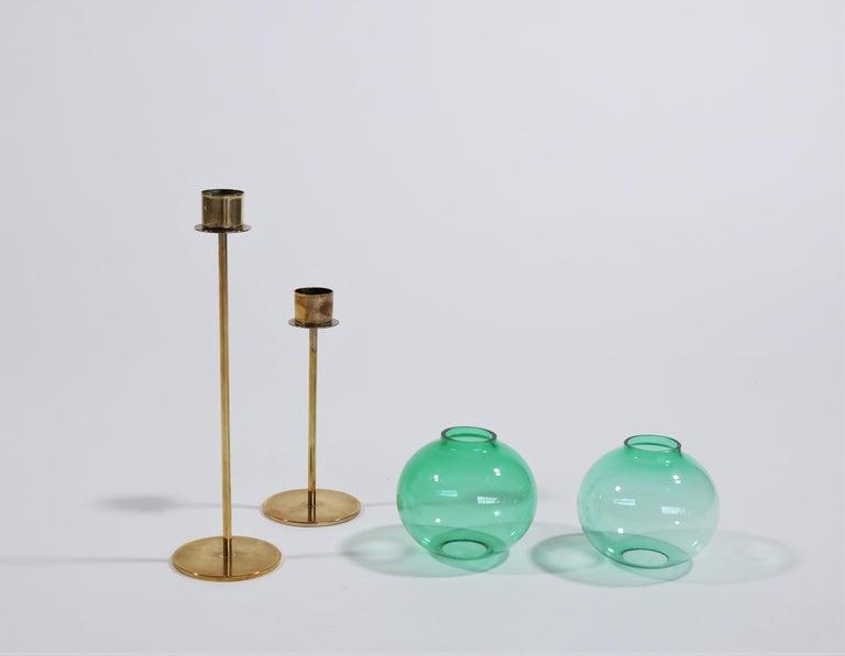 Hans Agne Jakobsson Scandinavian Modern Brass and Glass Candlesticks, 1960s For Sale 5