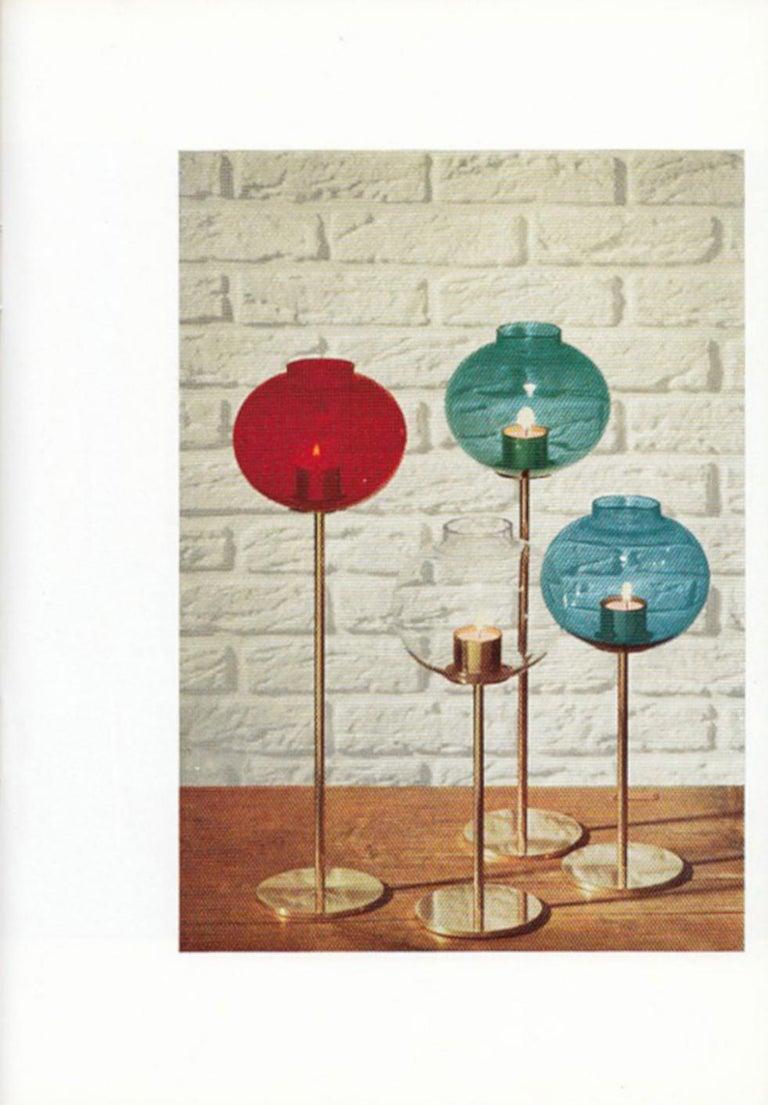 Hans Agne Jakobsson Scandinavian Modern Brass and Glass Candlesticks, 1960s For Sale 8