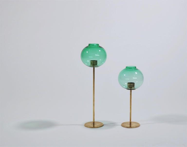 Swedish Hans Agne Jakobsson Scandinavian Modern Brass and Glass Candlesticks, 1960s For Sale
