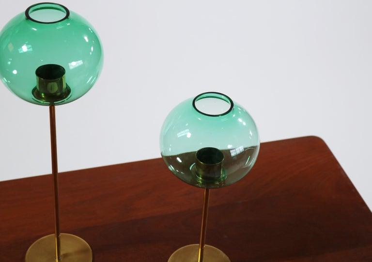 Hans Agne Jakobsson Scandinavian Modern Brass and Glass Candlesticks, 1960s For Sale 3
