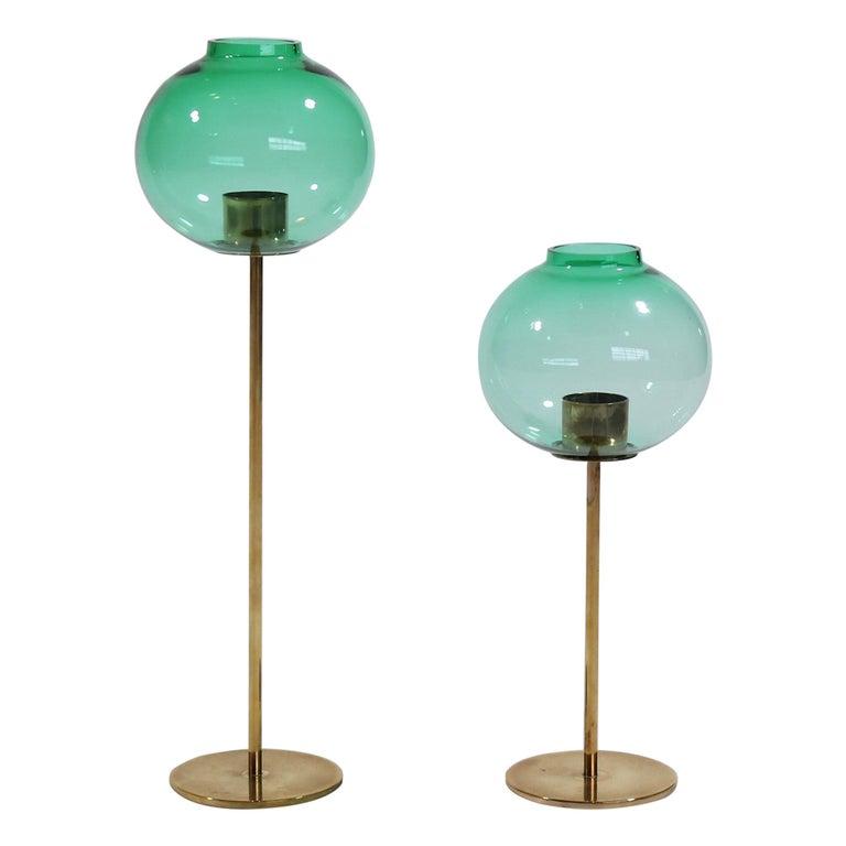 Hans Agne Jakobsson Scandinavian Modern Brass and Glass Candlesticks, 1960s For Sale