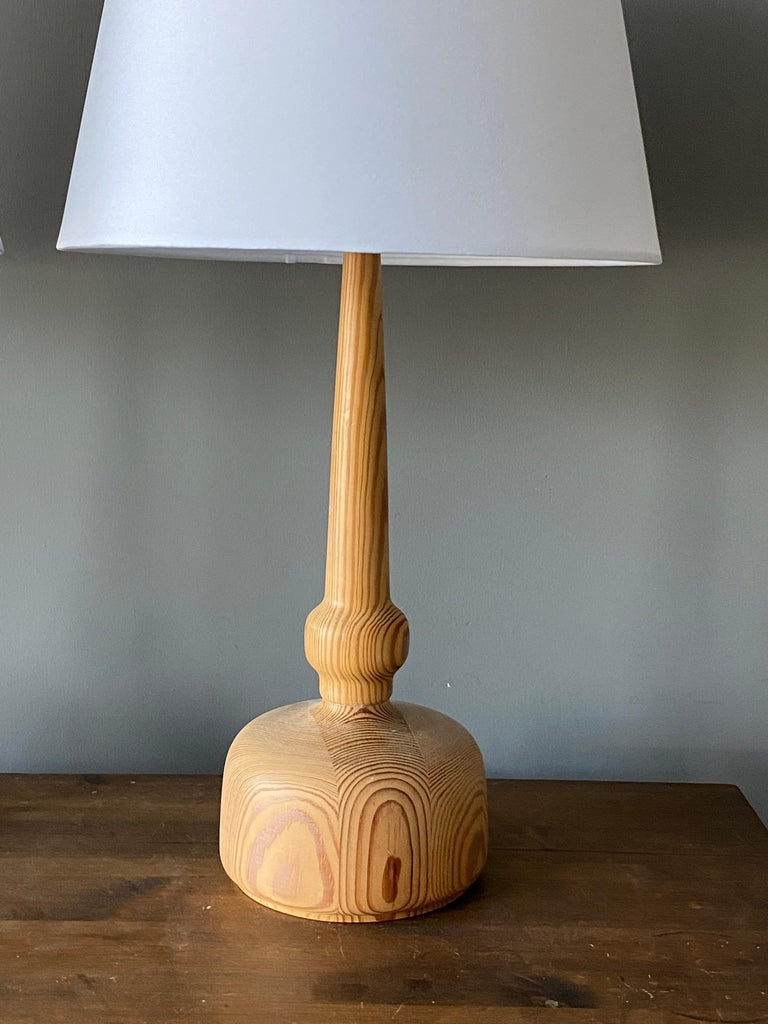 Mid-Century Modern Hans-Agne Jakobsson, Table Lamps, Solid Turned Pine, Sweden, 1970s For Sale