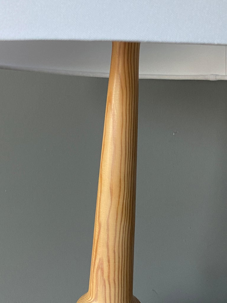 Late 20th Century Hans-Agne Jakobsson, Table Lamps, Solid Turned Pine, Sweden, 1970s For Sale