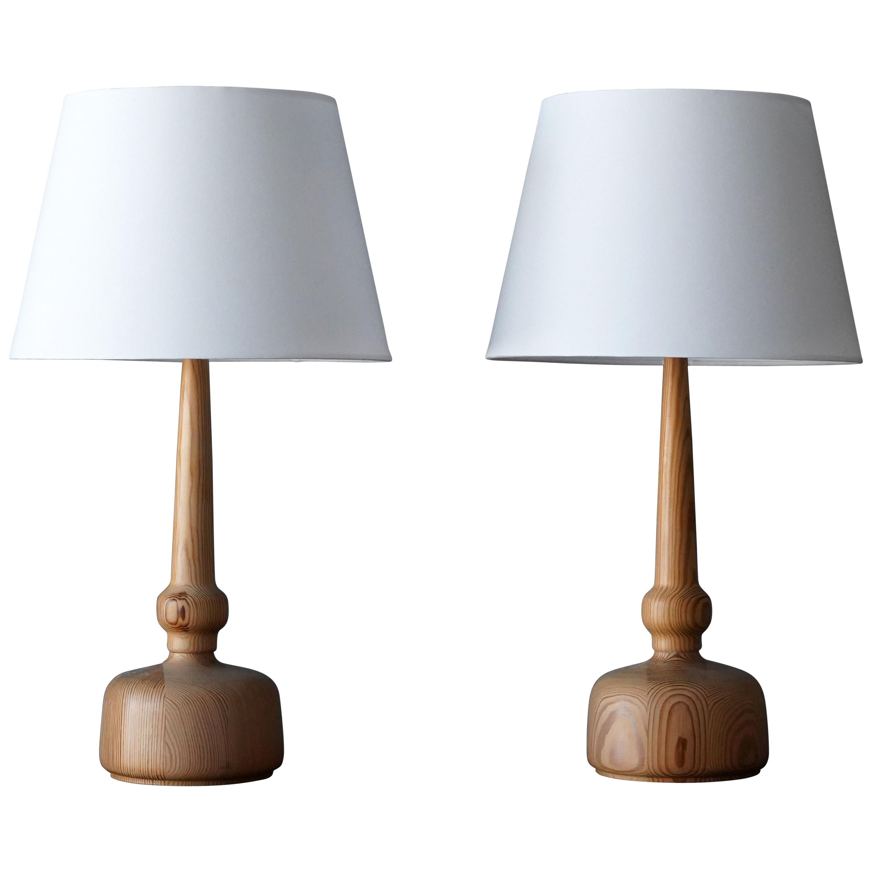 Hans-Agne Jakobsson, Table Lamps, Solid Turned Pine, Sweden, 1970s