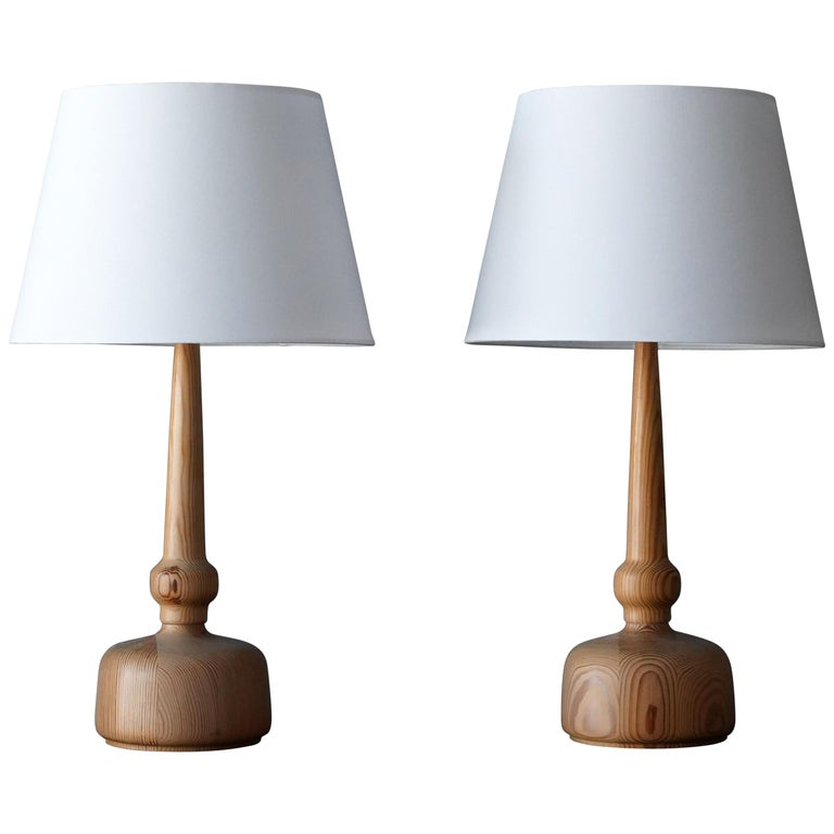 Hans-Agne Jakobsson, Table Lamps, Solid Turned Pine, Sweden, 1970s For Sale
