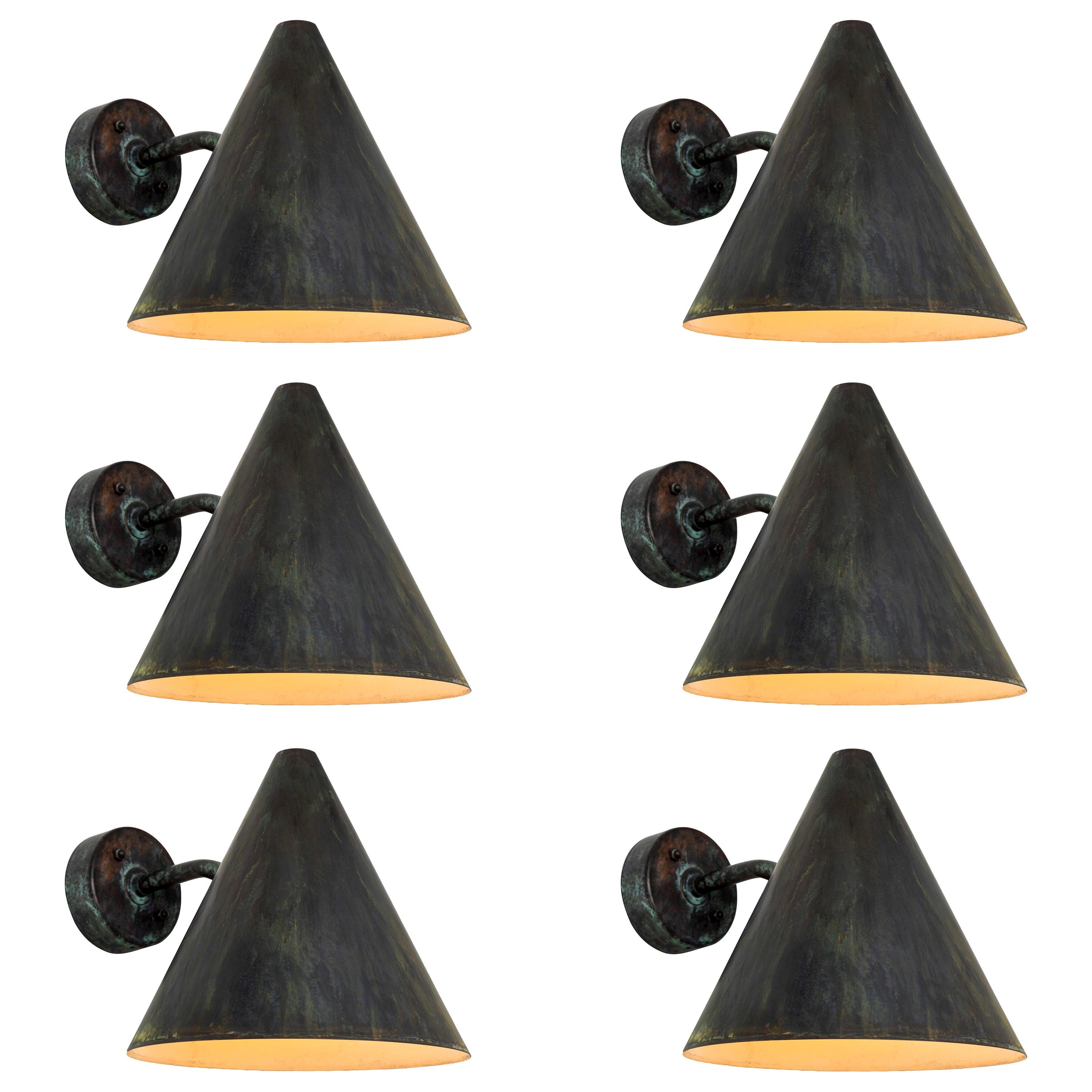 Hans-Agne Jakobsson 'Tratten' Darkly Patinated Outdoor Sconces