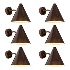Hans-Agne Jakobsson 'Tratten' Patinated Brass Outdoor Sconces