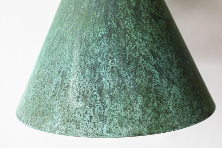 Pair of Hans-Agne Jakobsson 'Tratten' Verdigris Patinated Outdoor Sconces For Sale 6