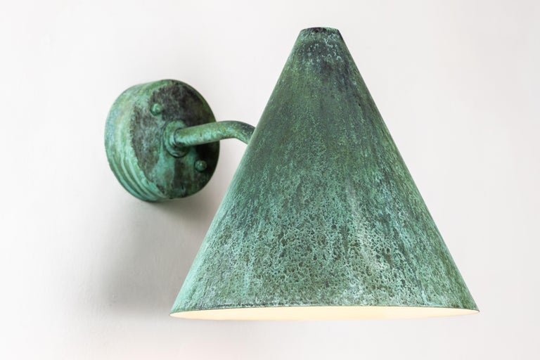Pair of Hans-Agne Jakobsson 'Tratten' Verdigris Patinated Outdoor Sconces For Sale 8