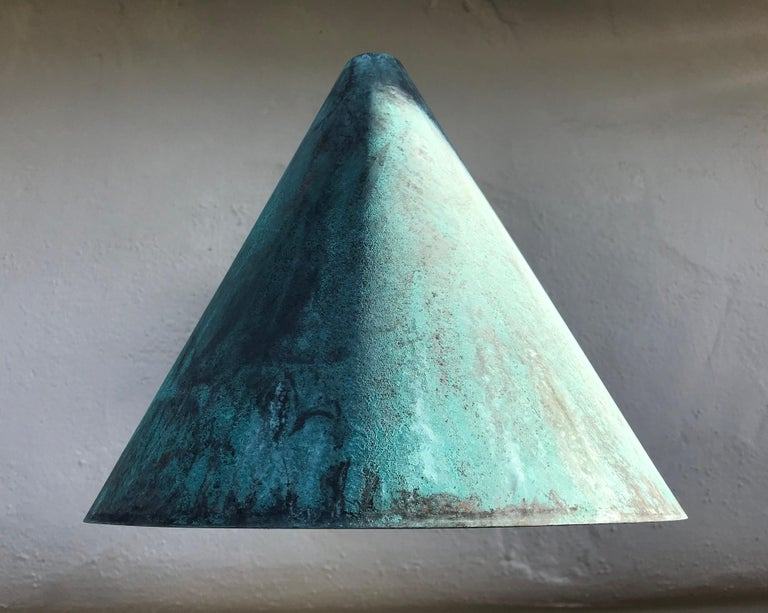 Swedish Pair of Hans-Agne Jakobsson 'Tratten' Verdigris Patinated Outdoor Sconces For Sale