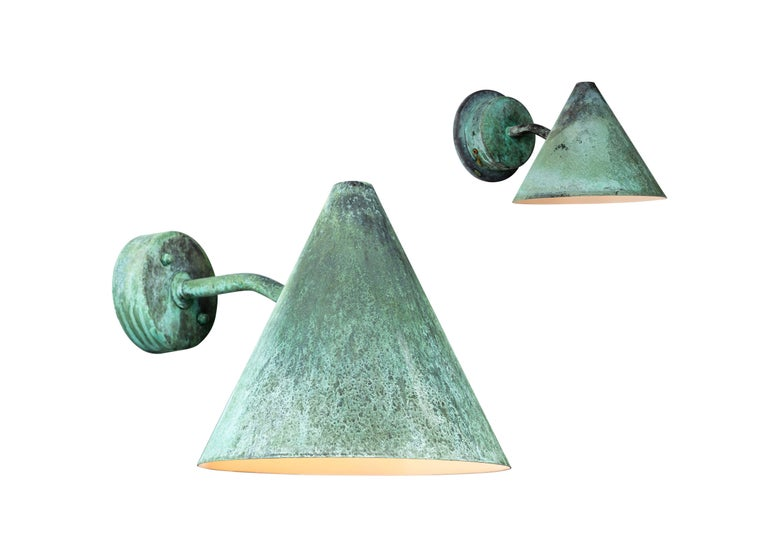 Pair of Hans-Agne Jakobsson 'Tratten' Verdigris Patinated Outdoor Sconces For Sale 9