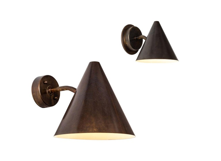 Pair of Hans-Agne Jakobsson 'Tratten' Verdigris Patinated Outdoor Sconces For Sale 11